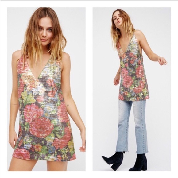 Free People Tangier Mini Floral Sequin Dress Sz S